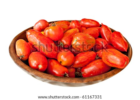 Organic fresh picked tomatoes in bowl isolated on white - stock photo