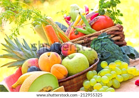 Organic fruits and vegetables - stock photo