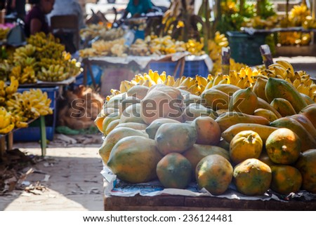 Organic fruits and vegetables at an open street market.  - stock photo