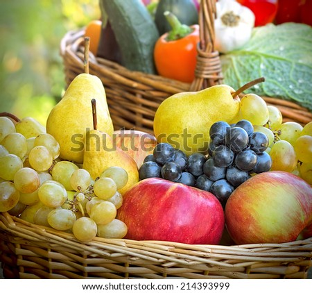 Organic fruits and vegetables - closeup