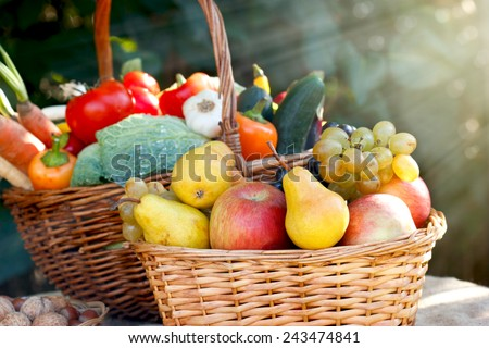 Organic fruits and vegetables - healthy food - stock photo