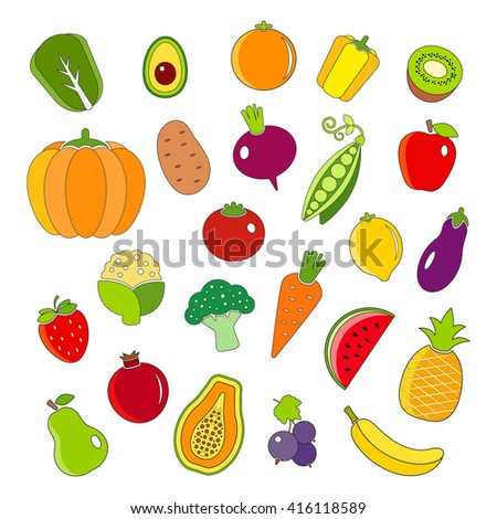 Organic fruits and vegetables outline style icons set