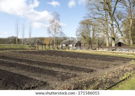 Organic garden at Castle Hackfort in Vorden, Netherlands. - stock photo