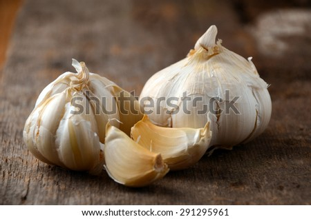 Organic garlic whole and cloves  - stock photo