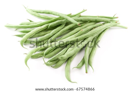 Organic green beans on white background