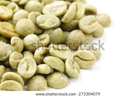 organic green coffee beans close-up, healthy food - stock photo