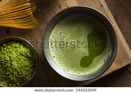 Organic Green Matcha Tea in a Bowl - stock photo