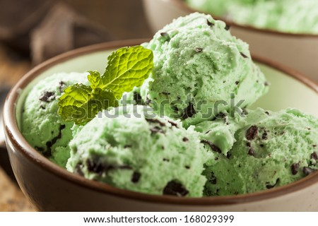 Organic Green Mint Chocolate Chip Ice Cream with a Spoon - stock photo