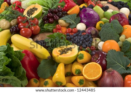 Organic healthy vegetables and fruits - stock photo