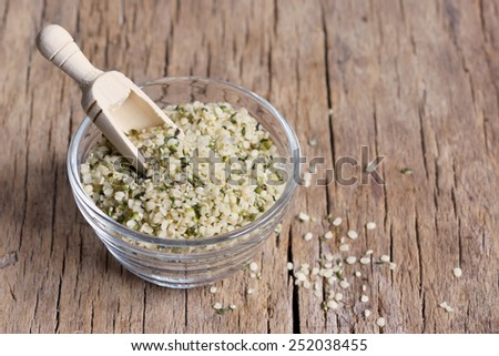 Organic Hulled Hemp Seeds in a Bowl  - stock photo
