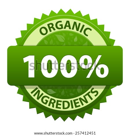 Organic Ingredients 100 percent green label icon isolated on white background. Symbol of healthy food. illustration - stock photo