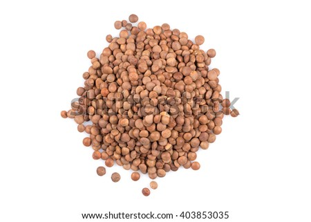 Organic lentils Isolated on a white background - close up shot