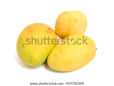 Organic mangoes isolated on white