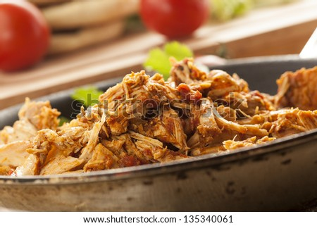 Organic Mexican Shredded Beef for tacos in  a pan - stock photo