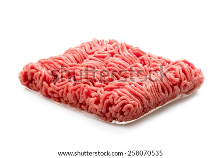Organic minced meat isolated on a white background