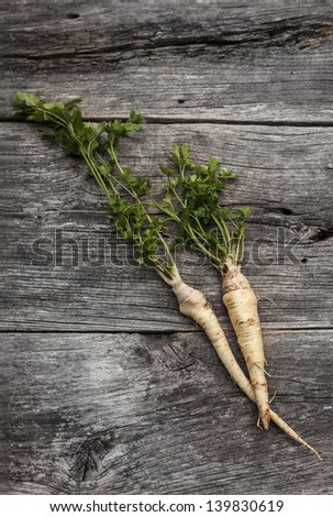 Organic parsley on a rustic wooden board - stock photo