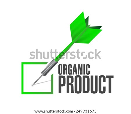 organic product dart check mark illustration design over a white background - stock photo
