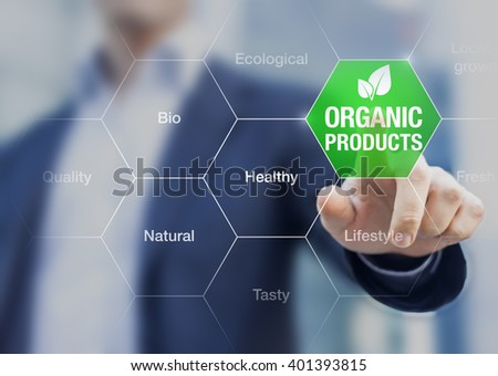 Organic products concept, businessman touching green button on interface with words about eating healthy natural food - stock photo