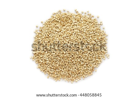 Organic Quinoa (Chenopodium quinoa) seeds isolated on white background. Macro close up. Top view.