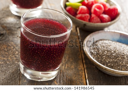 Organic Raspberry and Chia Seed Beverage against a background - stock photo