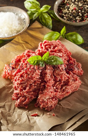 Organic Raw Grass Fed Ground Beef on Butcher Paper - stock photo