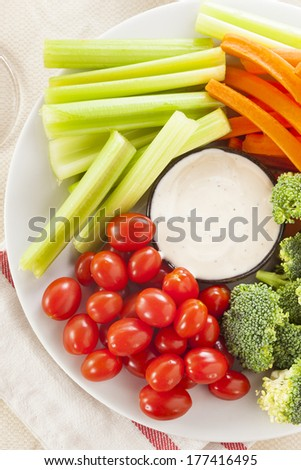 Organic Raw Vegetables with Ranch Dip with Tomatoes, Celery, Brocolli, and Carrots