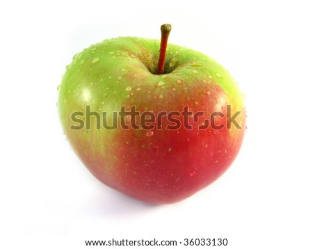 Organic red apple covered with drops of water - stock photo