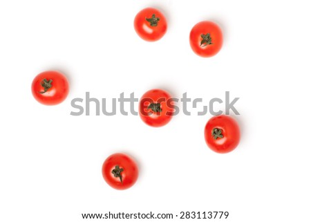 Organic Red Cherry Tomatoes,  Isolated on White Background - stock photo