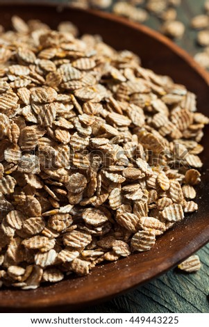 Organic Rolled Rye Flakes in a Bowl