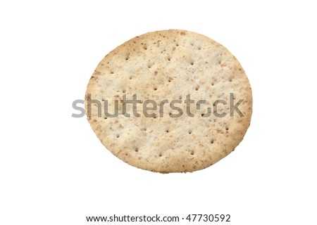 Organic round biscuit isolated on pure white