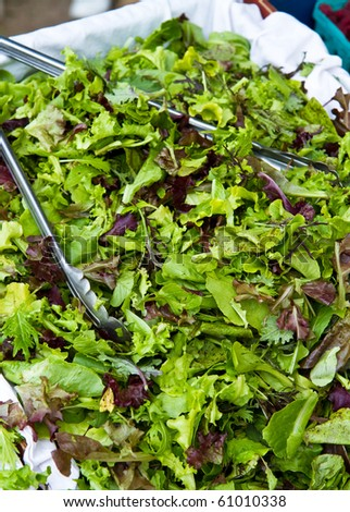 Organic salad mix for sale at a farmer's market - stock photo