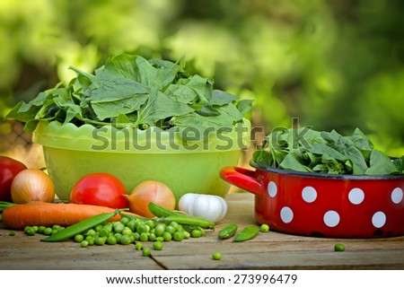 organic spinach and peas - stock photo
