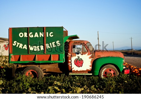 Organic Strawberries Farm Truck