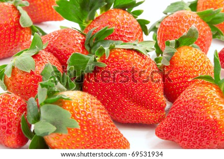 Organic strawberries fresh and natural  isolated on a white background