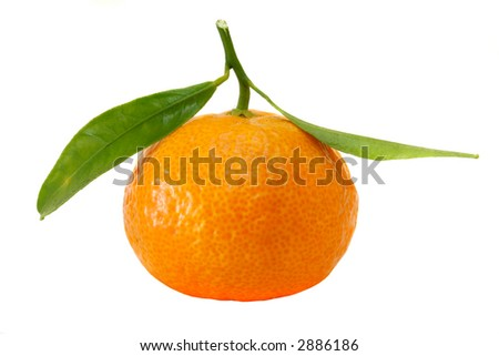 Organic Tangerine isolated on pure white background