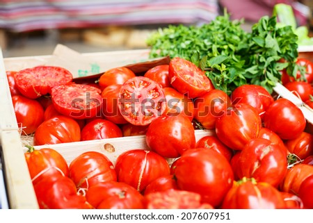 Organic tomatoes from mediterranean farmers market in Provence, France - stock photo