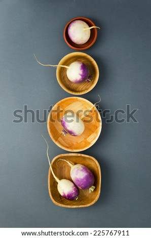 Organic turnips in different bowls over dark background - stock photo