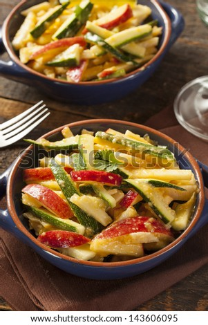 Organic Vegetable and Fruit Salad with Cucumber and Apple
