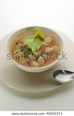 organic vegetable soup with small meat balls