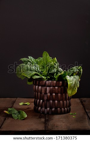 Organic vegetables. Fresh spinach. Healthy eating - stock photo
