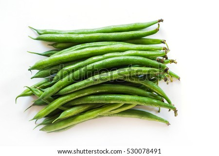 Organic vegetables green peas for salads or eat clean food for healthy on white background