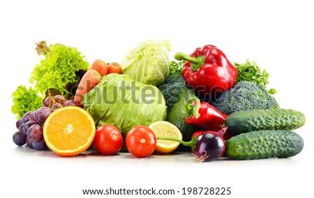 Organic vegetables isolated on white background - stock photo