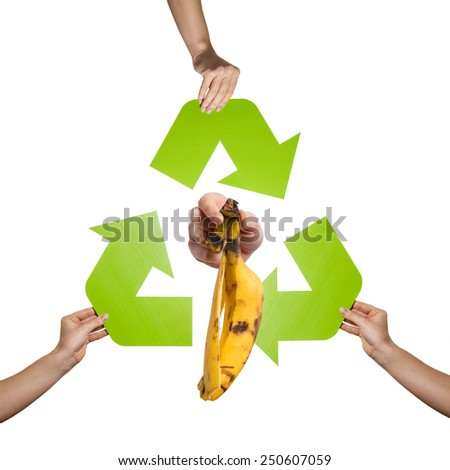 Organic waste recycling- studio shot of a banana peel isolated on white background - stock photo