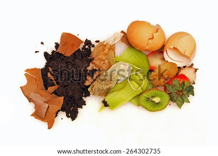 Organic waste white background, food and home waste used to make compost - stock photo
