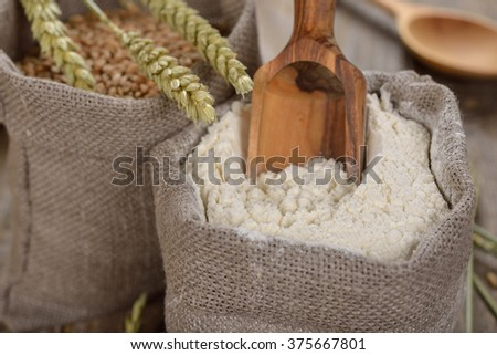 Organic wheat flour in the bag - stock photo