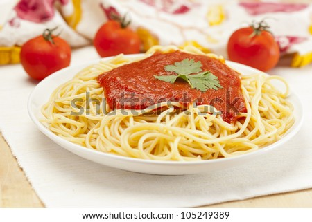 Organic Whole Grain Pasta with tomato sauce