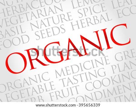 ORGANIC word cloud, health concept - stock photo