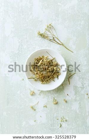 Organic yarrow flowers (Achillea millefolium) for tea - stock photo