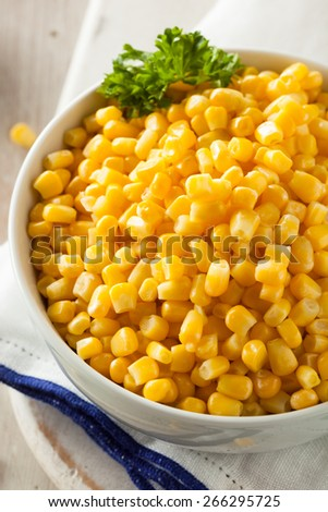 Organic Yellow Steamed Corn in a Bowl - stock photo