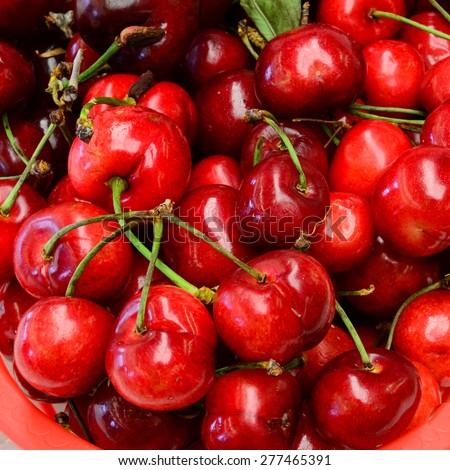 Organically grown bing cherries in a local fruit market at Ellensburg, Washington, US - stock photo
